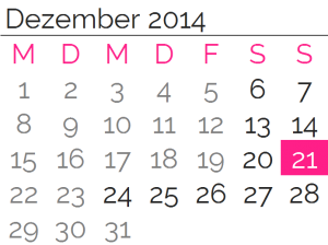 Sonntag, 21. Dezember 2014