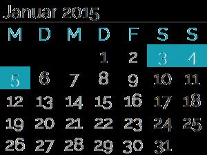 Samstag, 03. Januar 2015<br>Sonntag, 04. Januar 2015<br>Montag, 05. Januar 2015