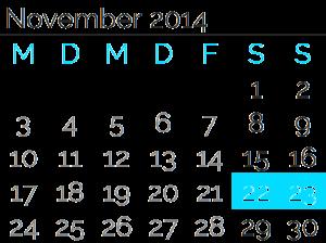 Samstag, 22. November2014 bis<br>Sonntag, 23. November2014