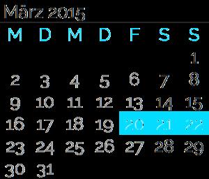 Freitag, 20. März 2015 bis<br>Sonntag, 22. März2015