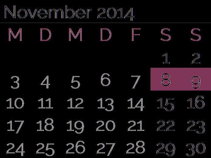 Samstag, 8. November 2014 und Sonntag, 9. November 2014