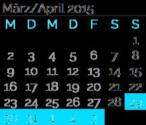 Sonntag, 29. März 2015 bis<br>Freitag, 03. April 2015